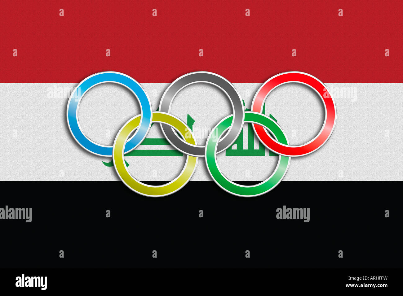 Flag of Iraq with olympic symbol - Stock Image