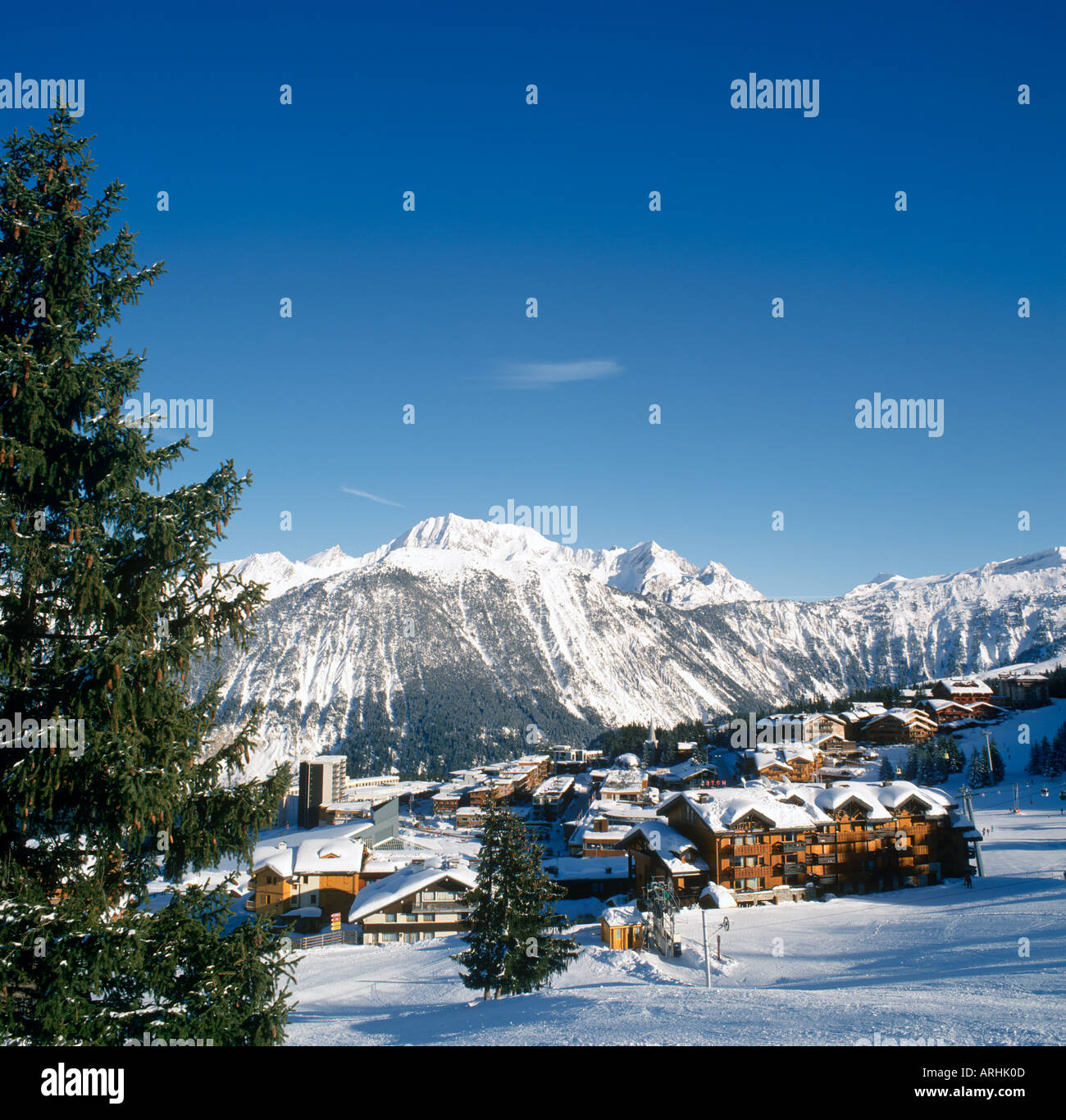 View over Resort Centre, Courchevel 1850, Three Valleys, Savoie, French Alps, France Stock Photo