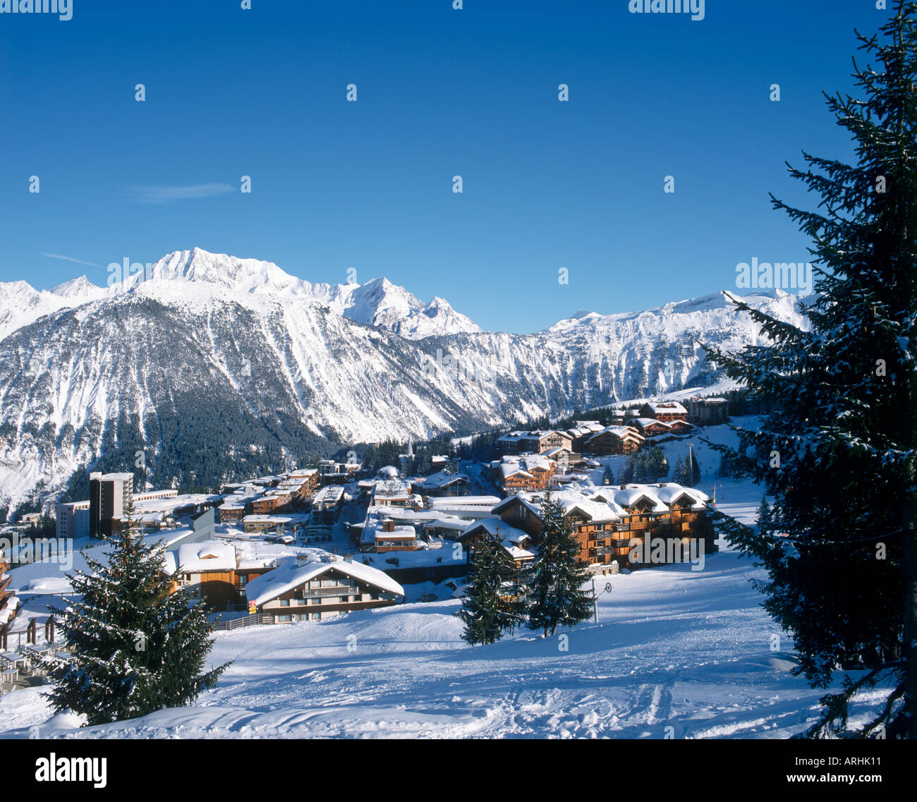 View over the resort centre, Courchevel 1850, Three Valleys, Savoie, French Alps, France Stock Photo