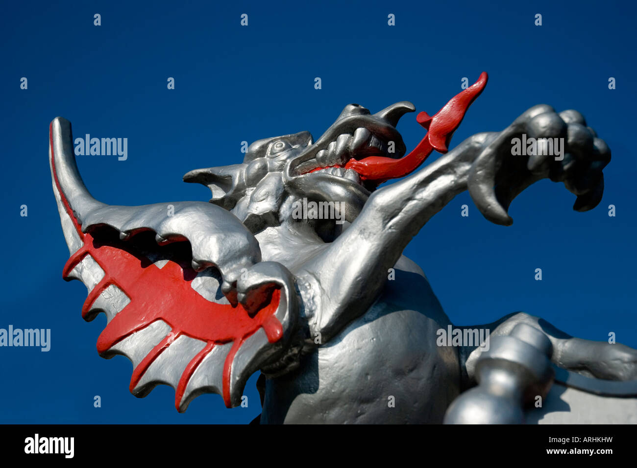 Griffin at the entrance to the City of London, UK - Stock Image