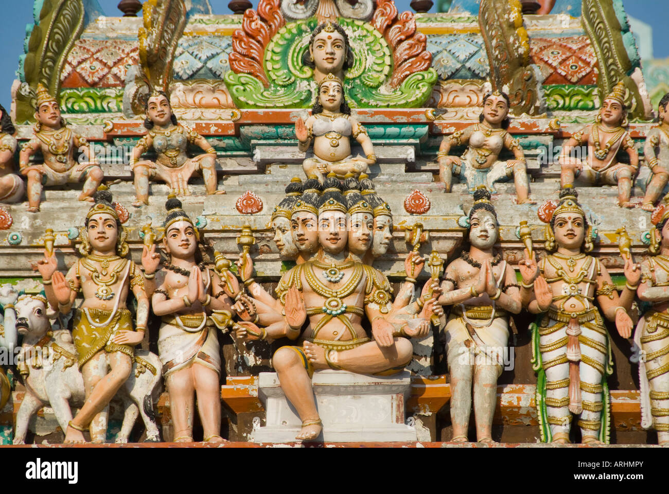 A detail from the Arunachaleswarer Temple in Tiruvannamalai in Tamil Nadu India - Stock Image