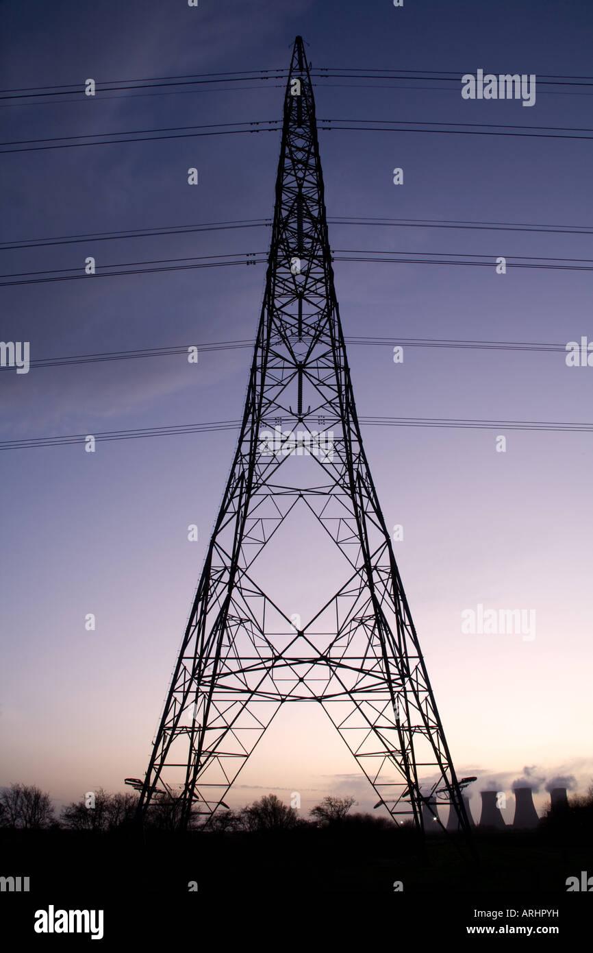 Electricity Power Pylon at Cottam Power Station River Trent England - Stock Image