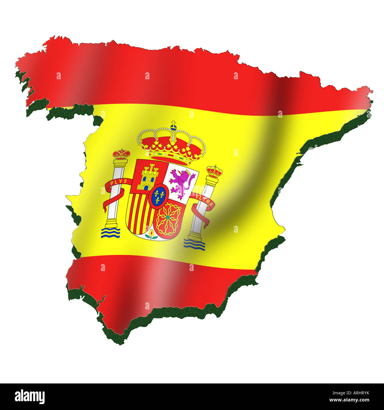 Outline Map And Flag Of Spain Stock Photo 16061238 Alamy