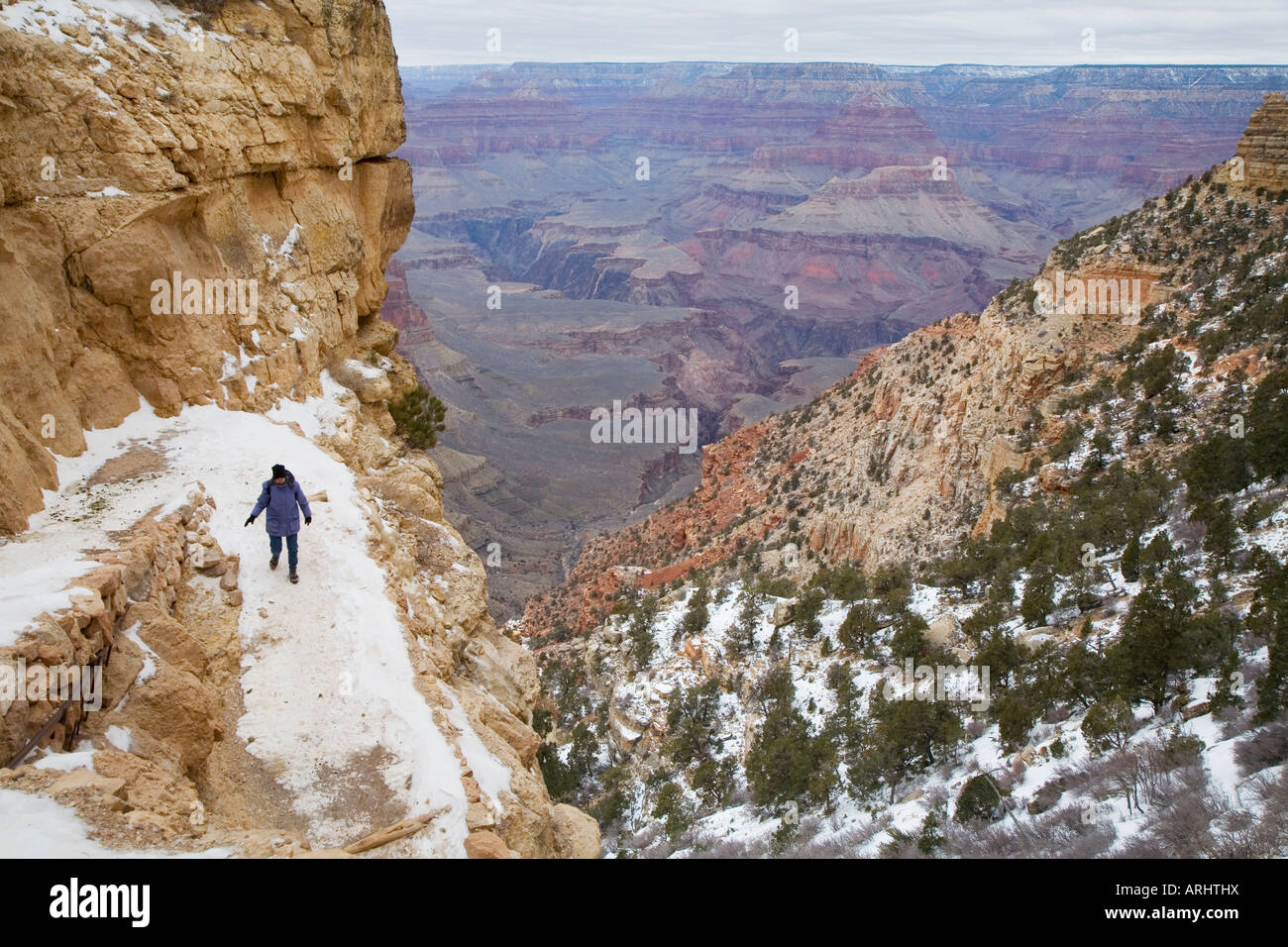 Hiker On The South Kaibab Trail In The Grand Canyon In