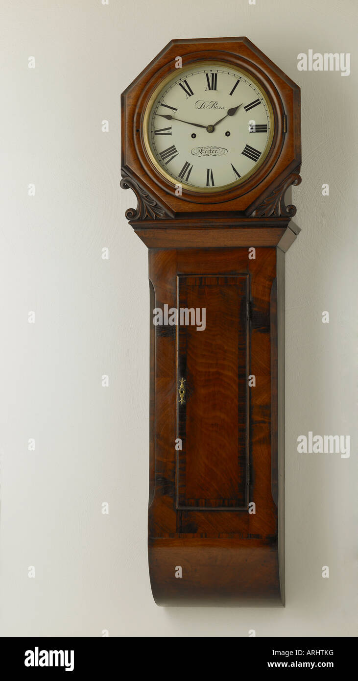 Wall clock by Ross of Exeter circa 1835 - Stock Image