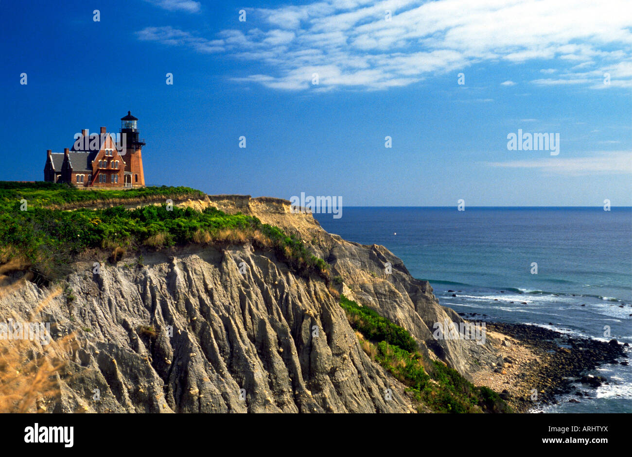 Scenic view of the cliffside Southeast Lighthouse, Block Island, Rhode Island, USA Stock Photo