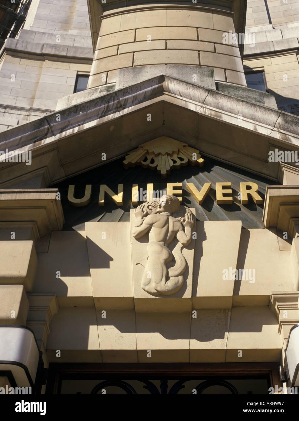 Allegorical sculpture on Unilever Building London England - Stock Image