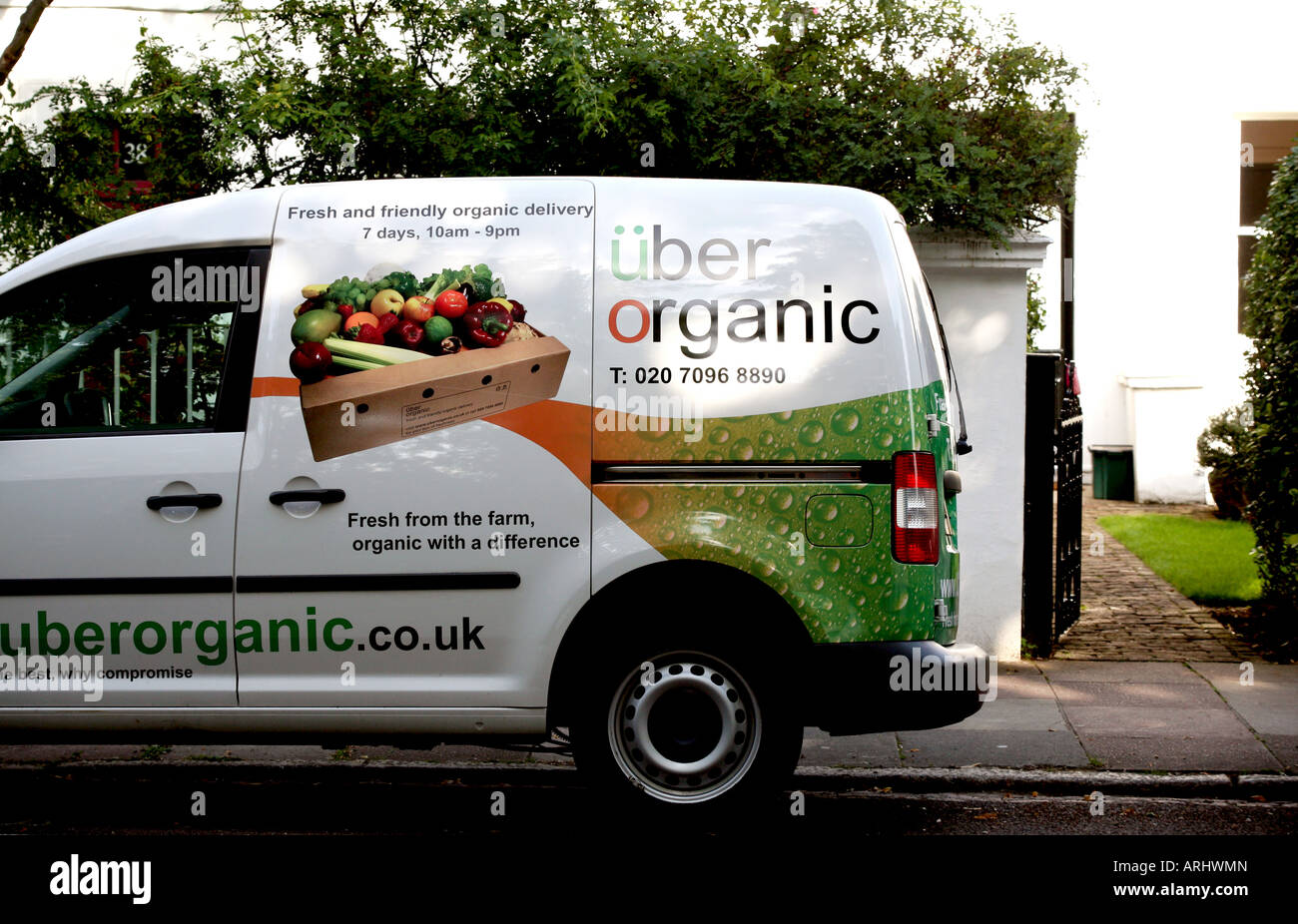 organic food delivery van in london street
