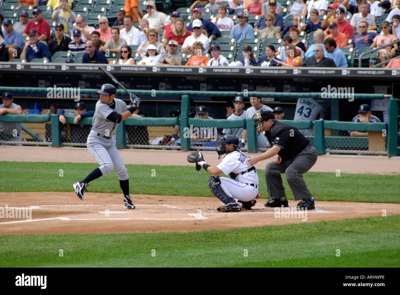 Detroit Tiger Professional Major League Baseball game at Comerica Park Detroit Michigan - Stock Image