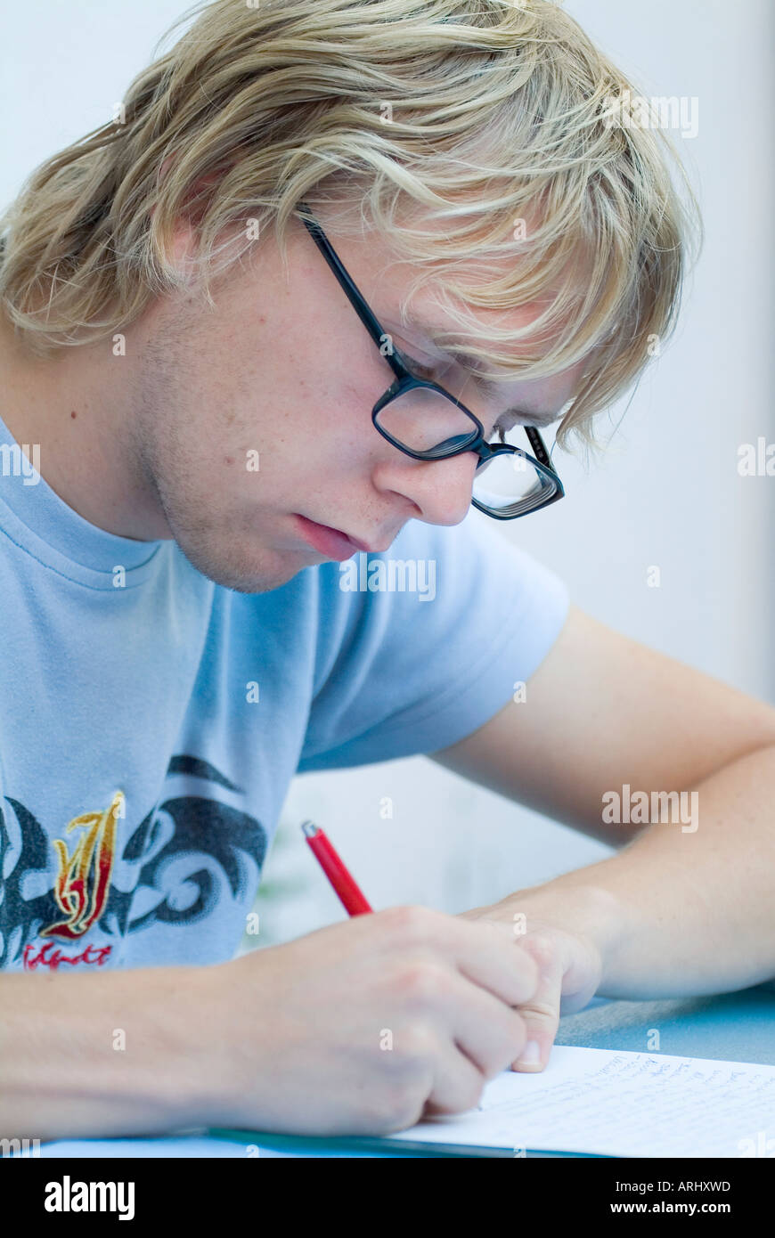 young man student by learning studying preparation for exams Stock Photo
