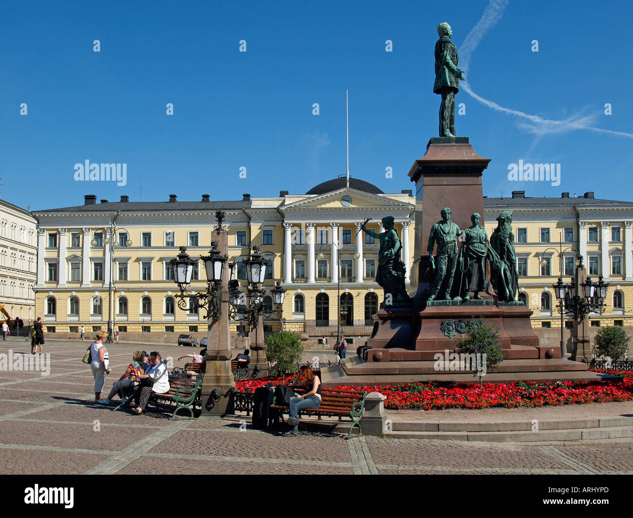 Zar Alexander II senate place in Helsinki with a statue of Tsar Alexander the second - Stock Image
