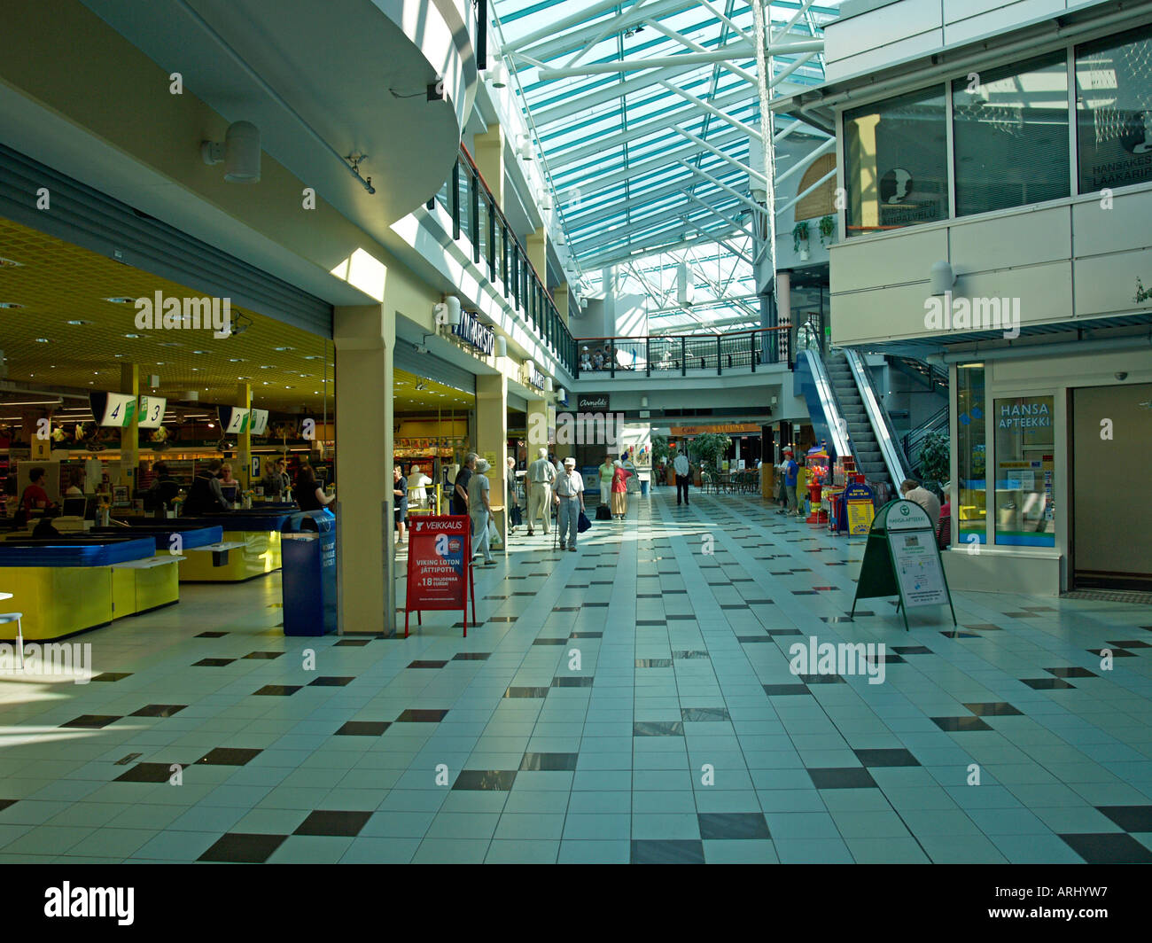 modern mall shopping passage center in Kouvola Finland Stock Photo