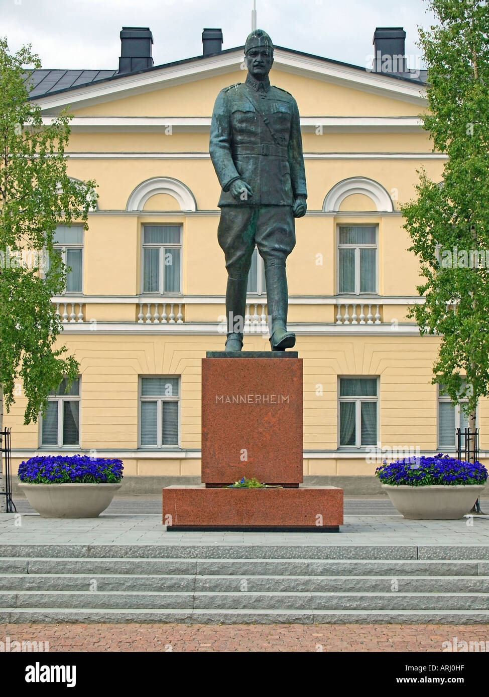 statue of marshal Mannerheim on the market place in front of the town hall of Mikkeli Finland - Stock Image