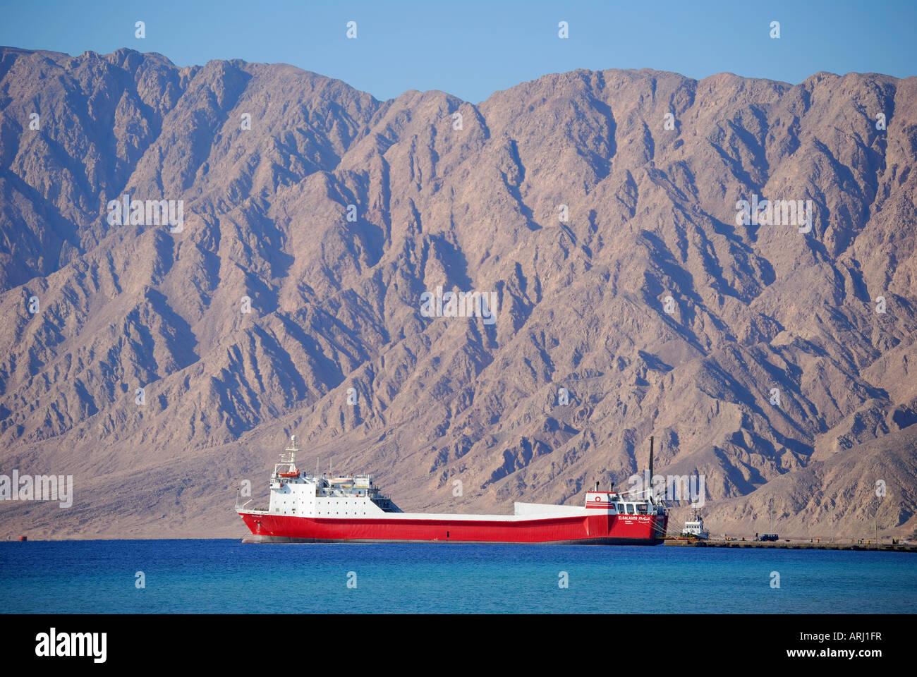 Vehicle and passenger ferry to Saudi Arabia, Nuweiba Port, Nuweiba, Sinai Peninsula, Republic of Egypt - Stock Image