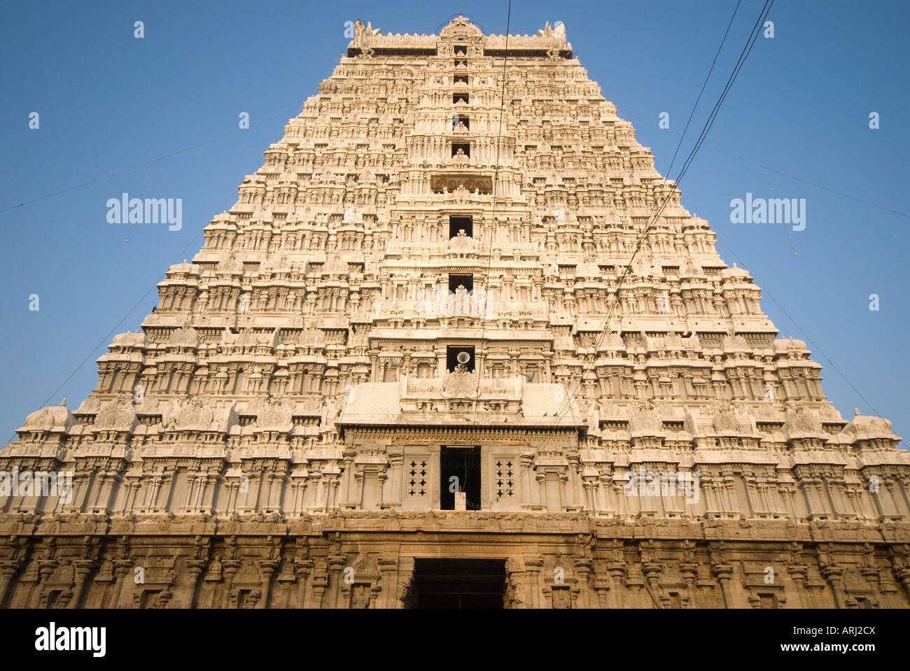 The large gopuram which is 66 metres high at Arunachaleswarer Temple in Tiruvannamalai Tamil Nadu India - Stock Image