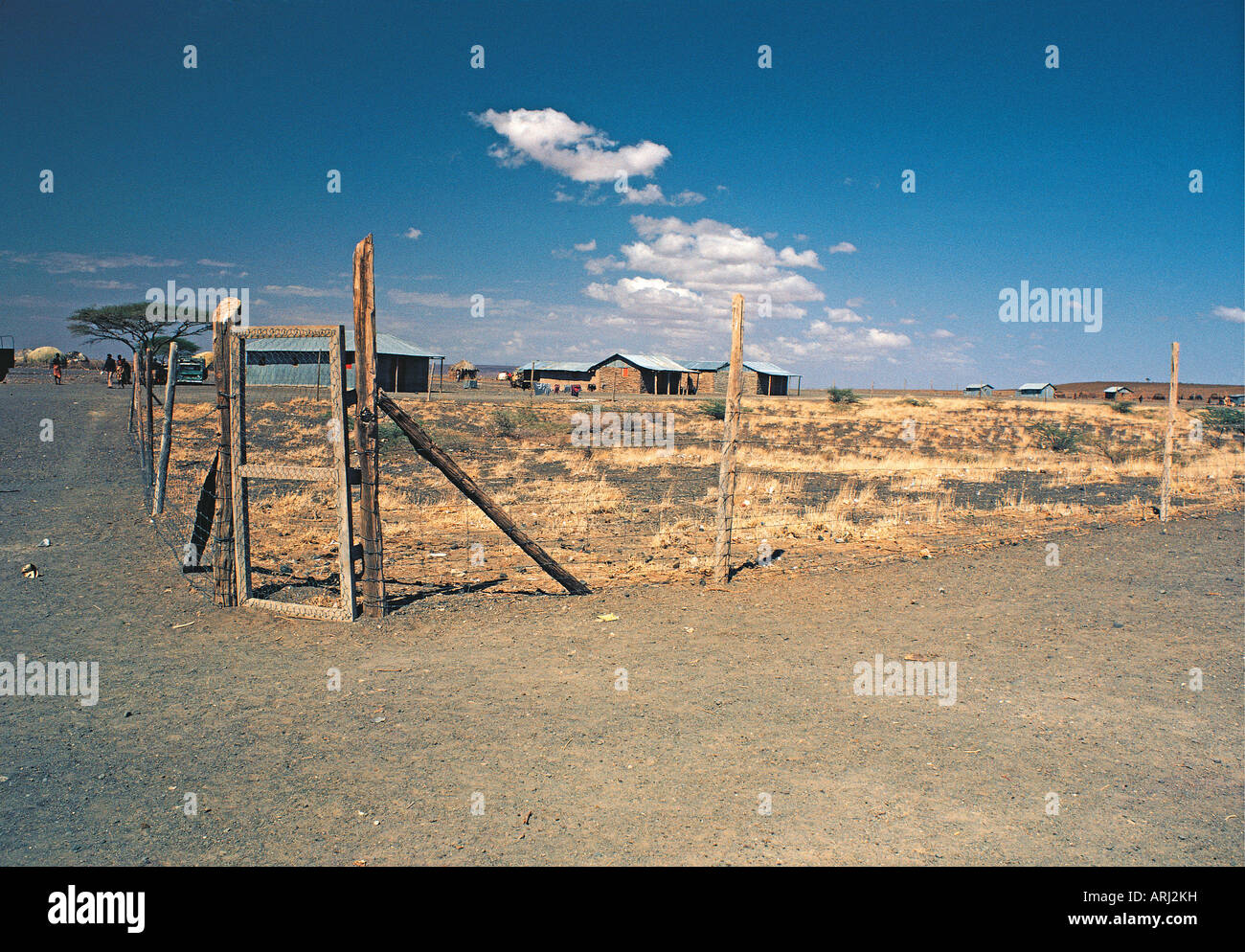 An exclosure and animal proof fence set up by IPAL the Integrated Project in Arid Lands in Kargi northern Kenya - Stock Image
