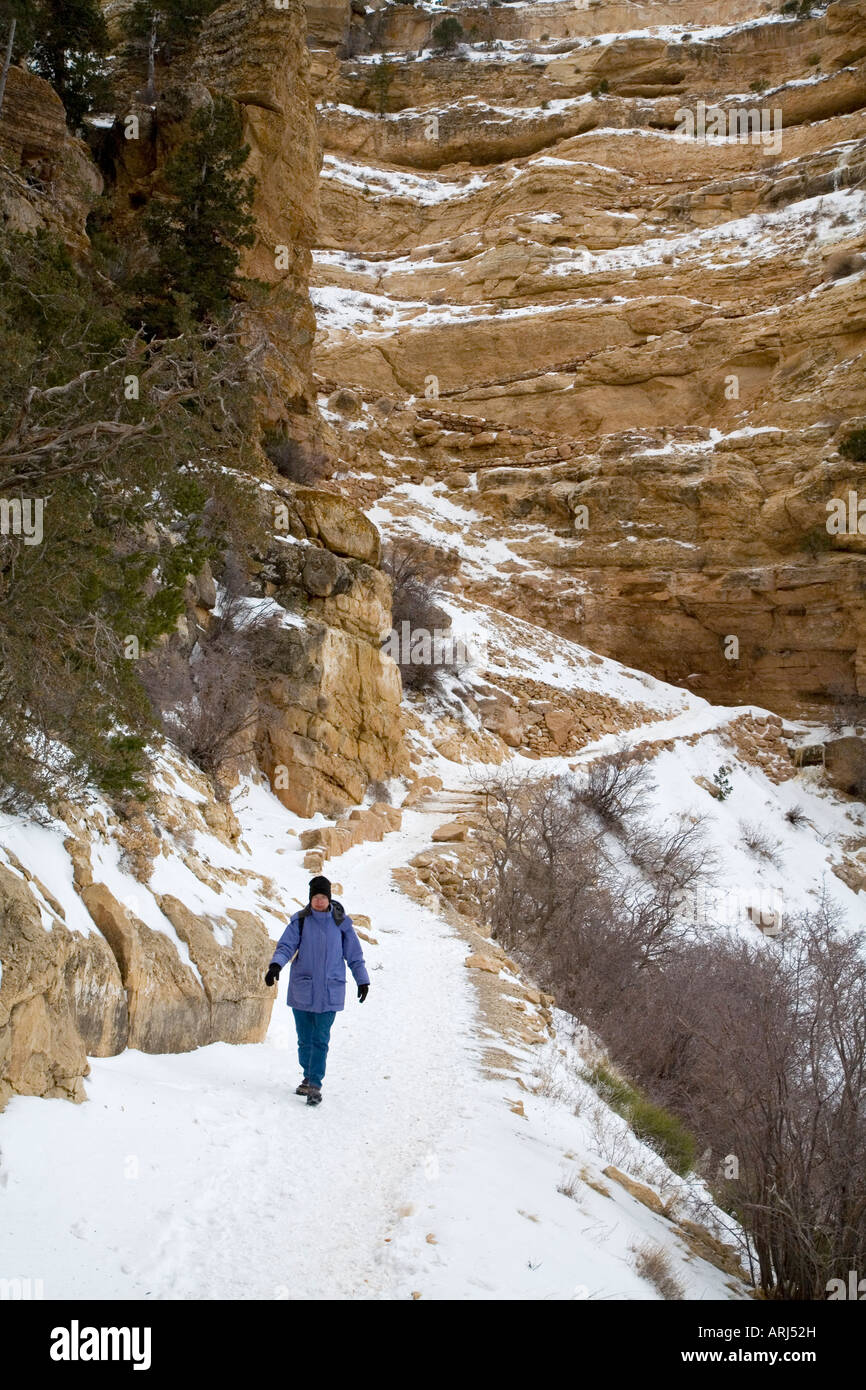 Hiker on the South Kaibab Trail in the Grand Canyon in Winter - Stock Image
