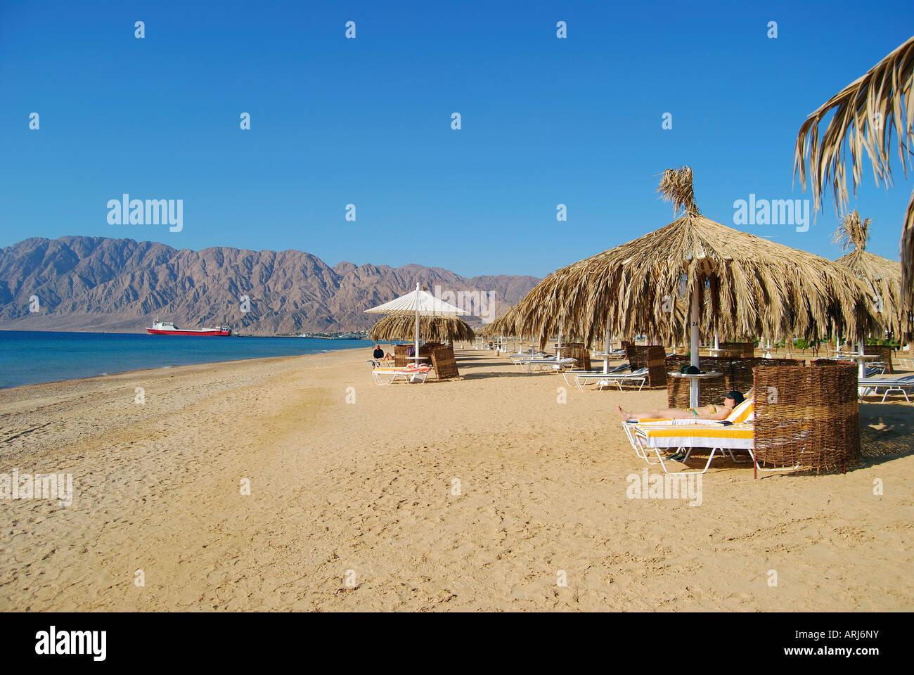 Hilton Nuweiba Coral Resort Hotel beach, Nuweiba, Sinai Peninsula, Republic of Egypt Stock Photo