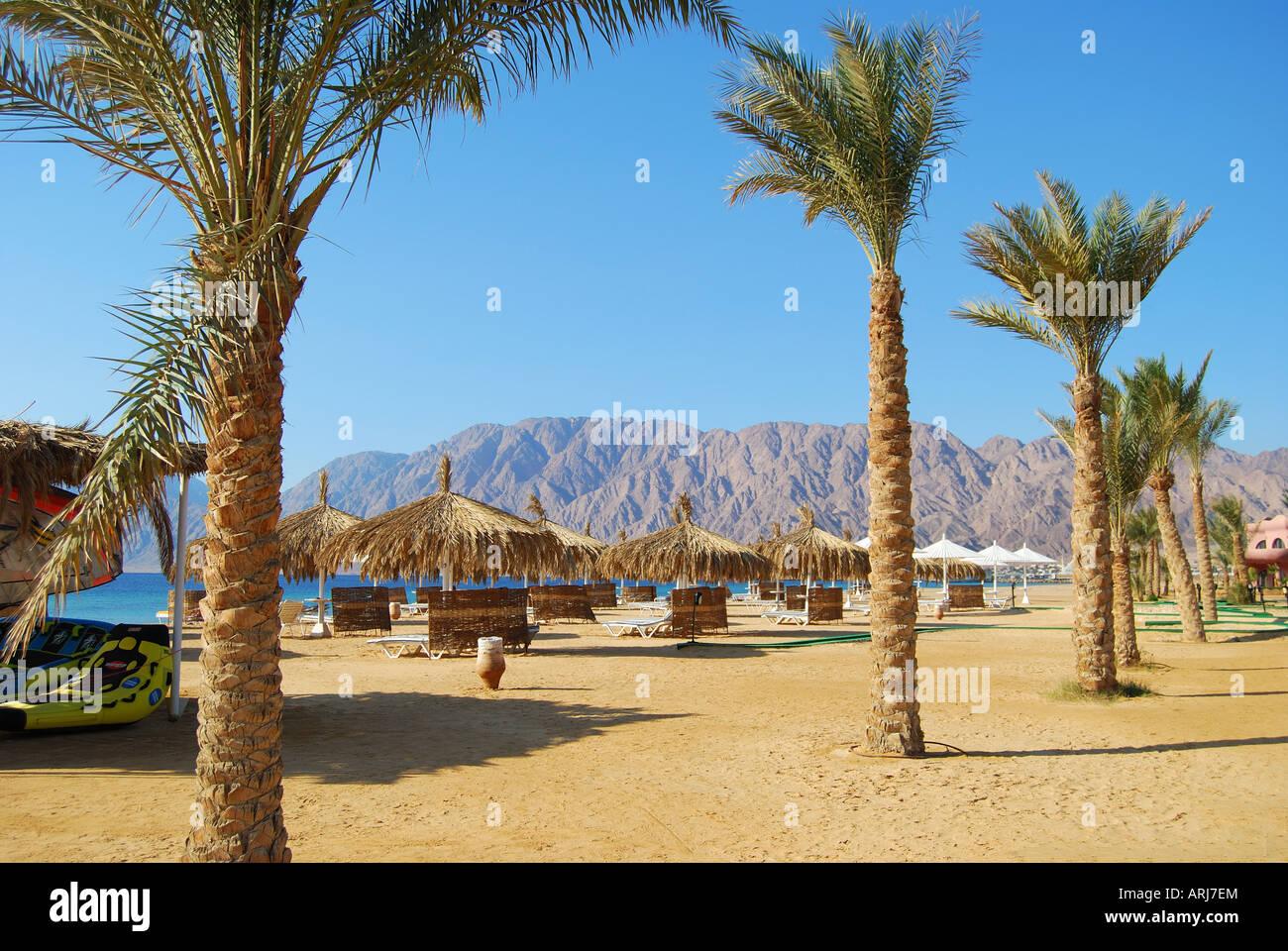 Hilton Nuweiba Coral Resort Hotel beach, Nuweiba, Sinai Peninsula, Republic of Egypt - Stock Image