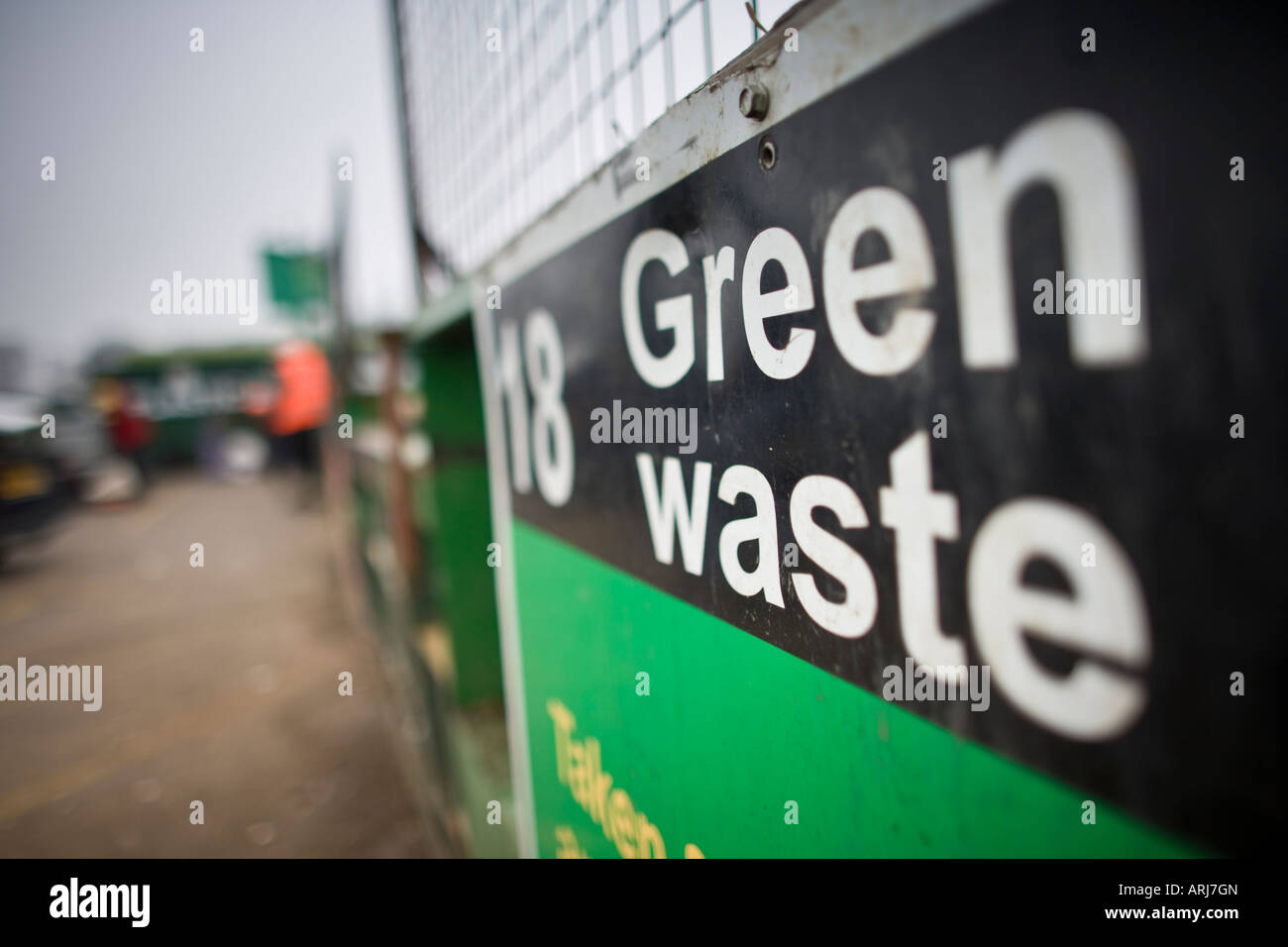 Green waste container at a recycling centre, UK - Stock Image
