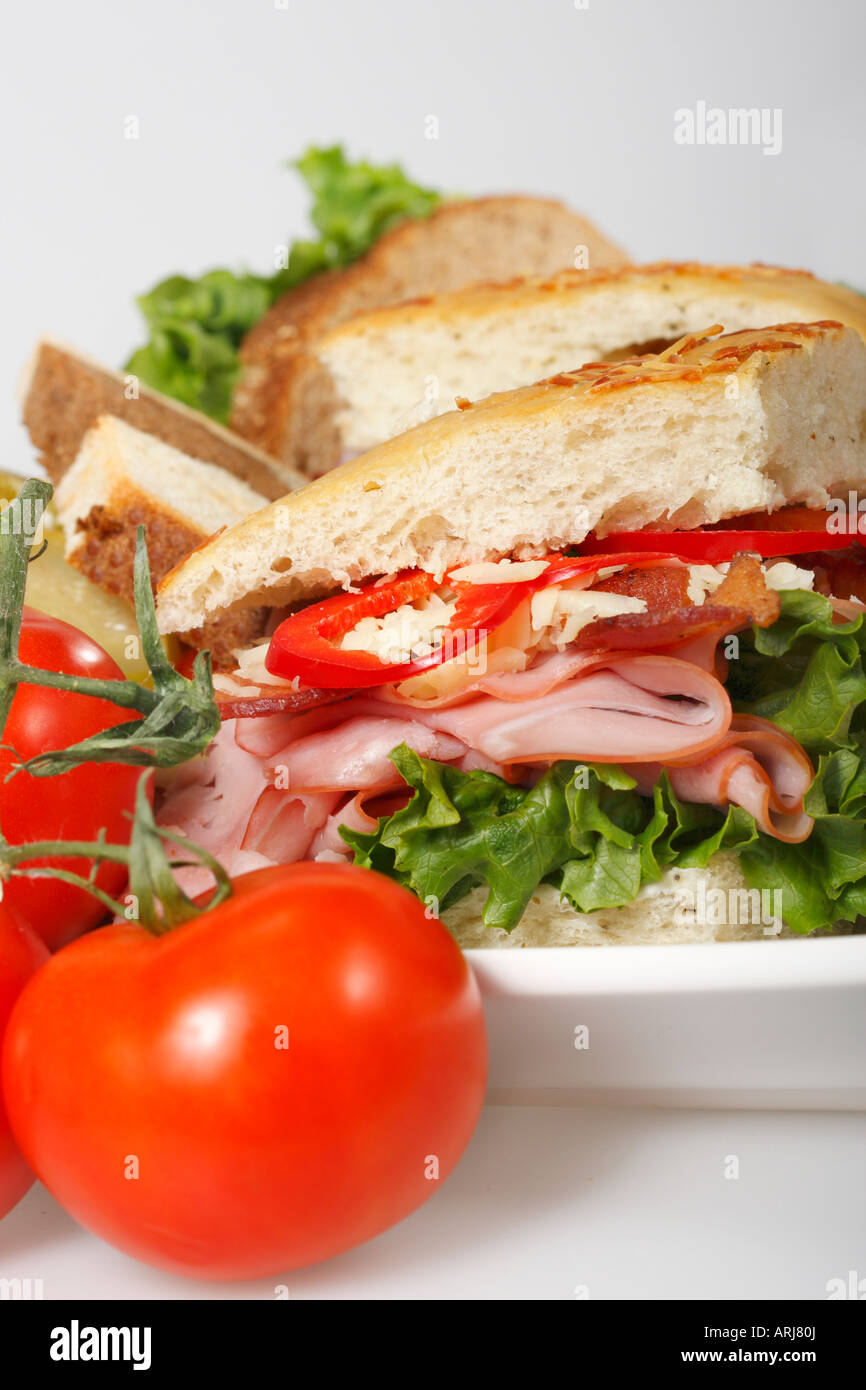 Turkey Sandwich Sandwiches Breakfast Lunch On Plate Platter Tray Stock Photo Alamy
