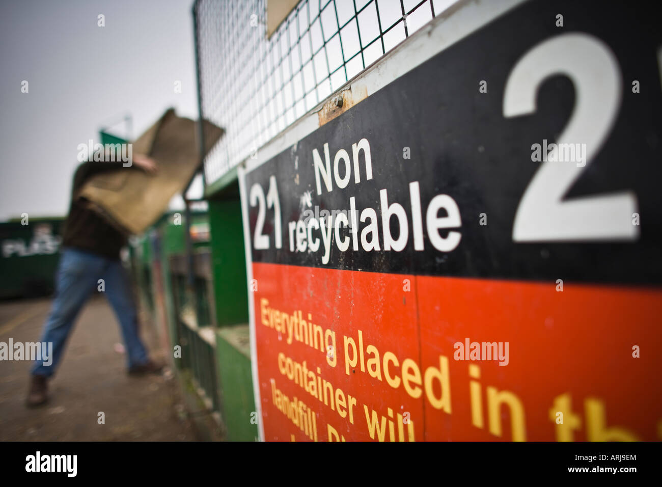 Non recyclable container at a recycling centre, UK - Stock Image