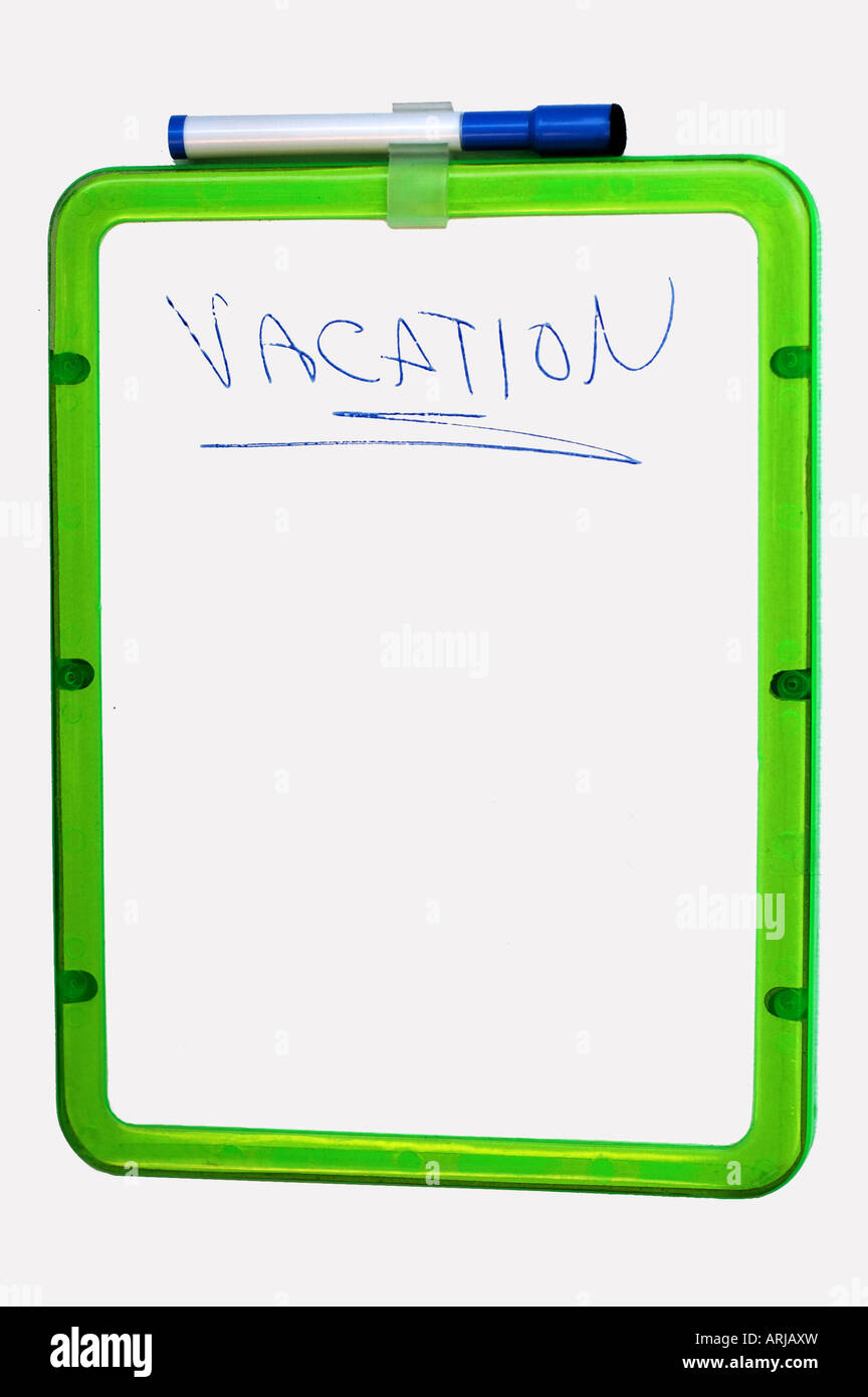 board with vacatin written - Stock Image