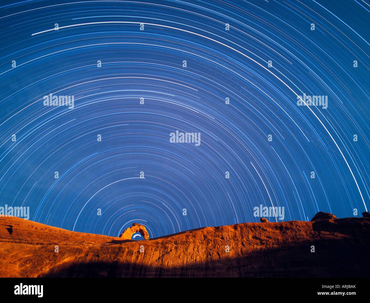Polaris describes the interior arc of Delicate Arch, Arches National Park Utah - Stock Image
