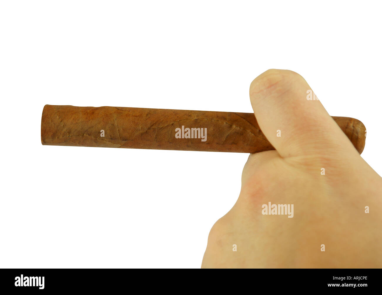 Male hand holding unlit cigar - Stock Image