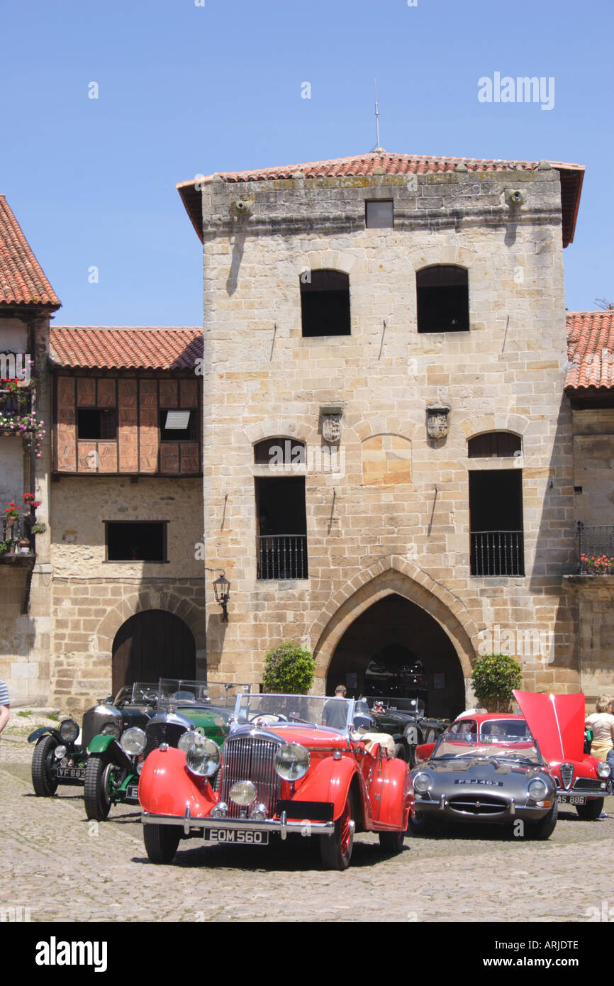 Vintage Bentley and E type Jaguar at Santillana del Mar Spain - Stock Image