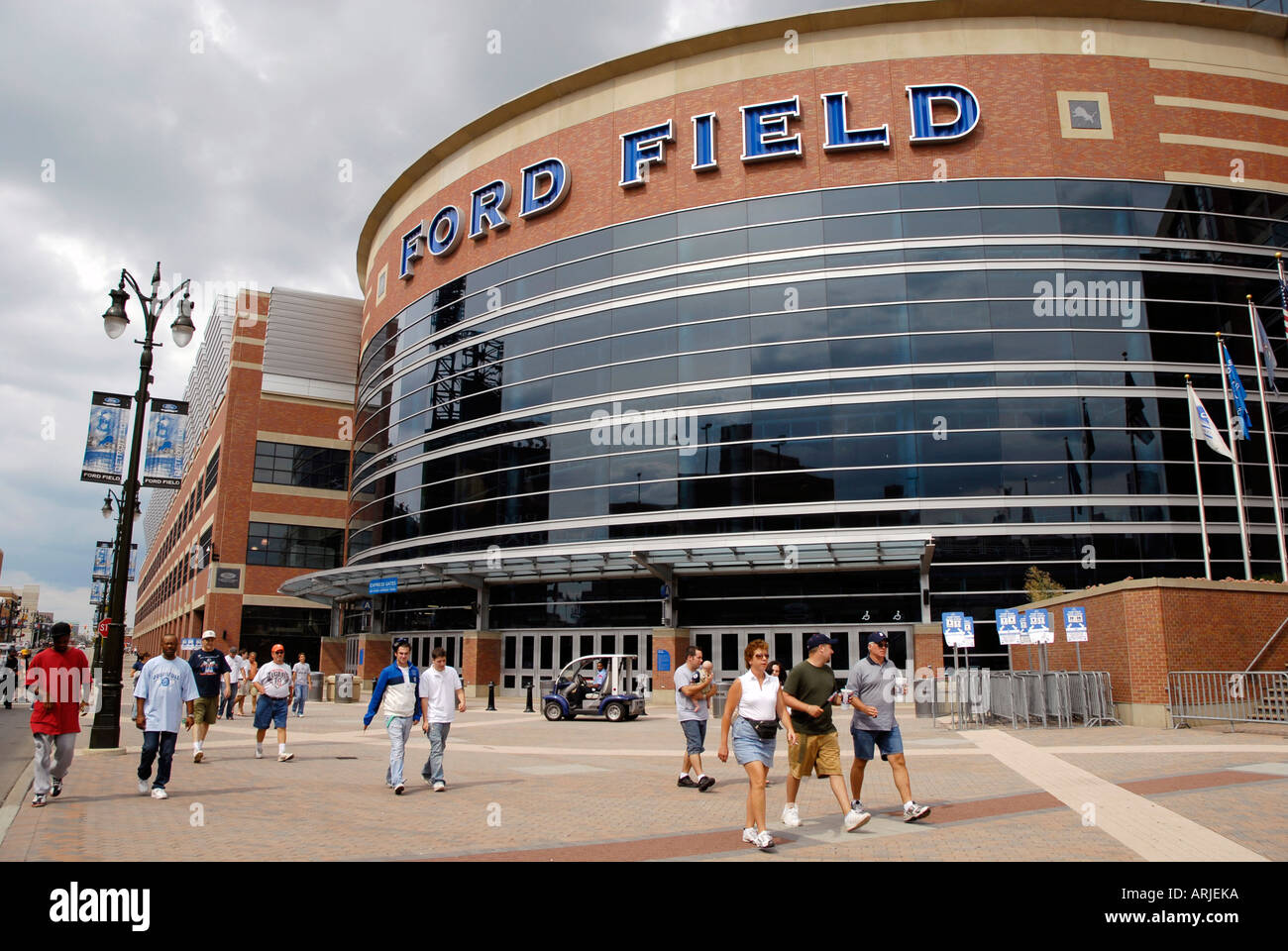 Ford Field entrance home of the professional football team Detroit Lions in Detroit Michigan MI - Stock Image