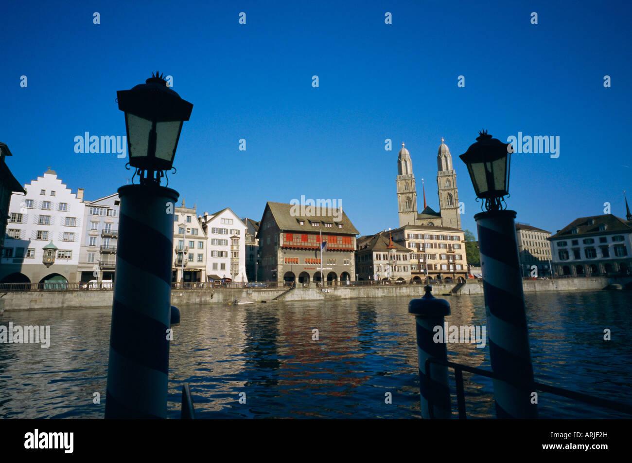 View across Limmat River to Limmatquai from Schipfe, Zurich, Switzerland, Europe - Stock Image