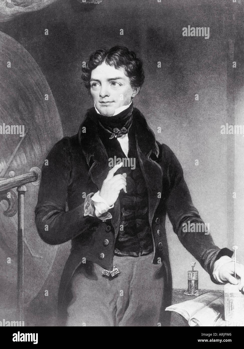 MICHAEL FARADAY English physicist and chemist 1791 to 1867 who discovered electomagnetism leading to the invention of the dynamo - Stock Image