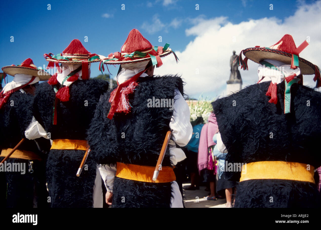 Indio Town Leaders In Traditional Clothing Costumes During Christmas Celebrations San Juan Chamula Chiapas Mexico