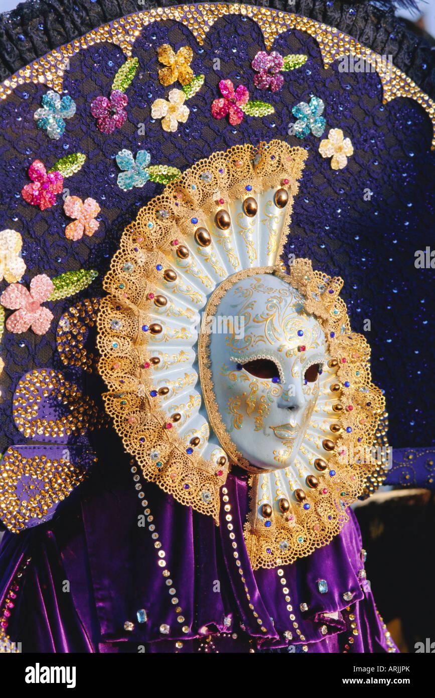Person wearing masked carnival costume, Venice Carnival, Venice, Veneto, Italy Stock Photo