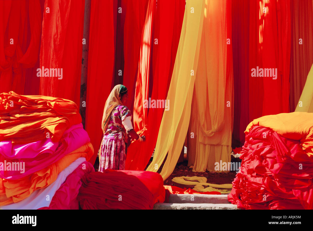 Sari garment factory, Rajasthan, India - Stock Image