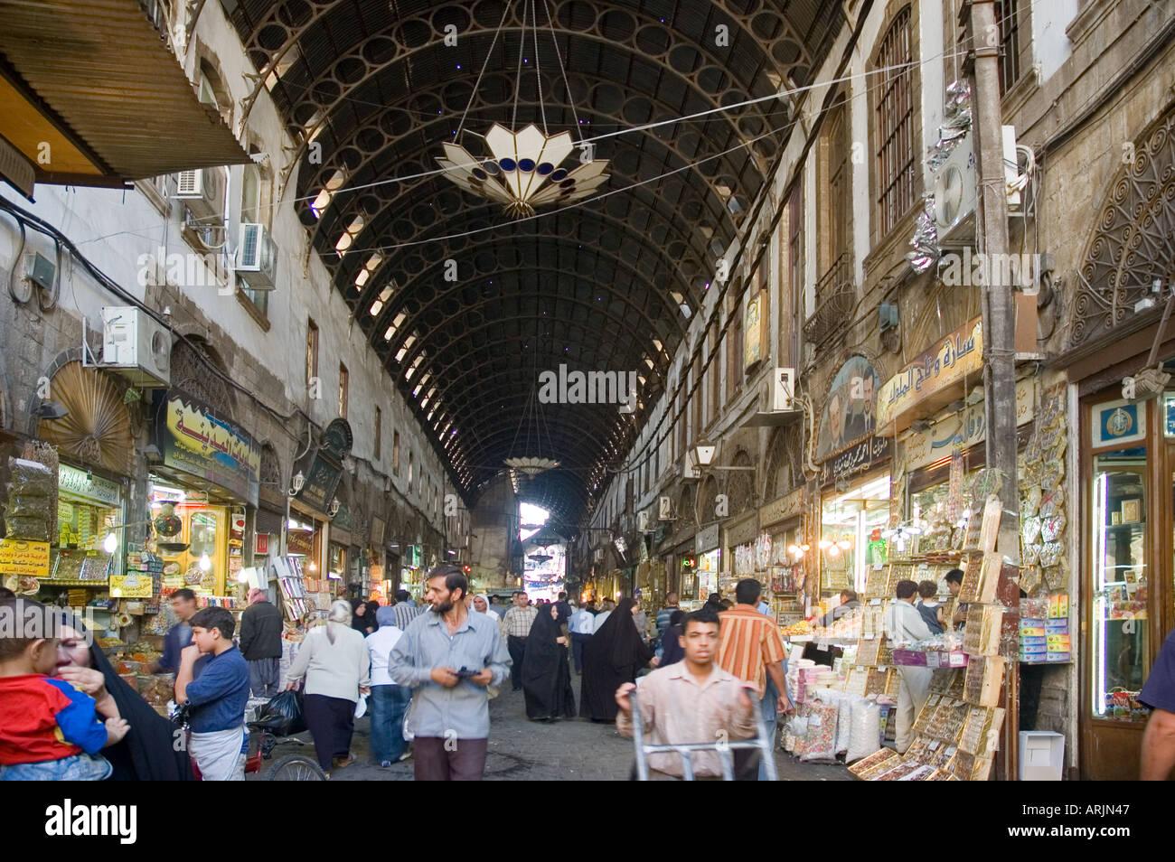 Main street of covered bazaar, al-Hamidiyya souk, souq, district of Damascus, Syria, Middle East. DSC 5703 Stock Photo