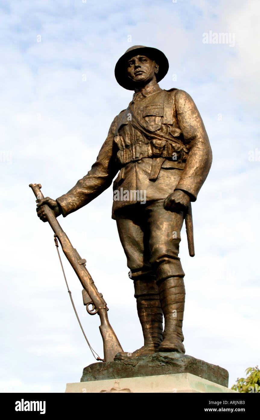 Statue of a World War 1 British soldier, Winchester, Britain UK - Stock Image