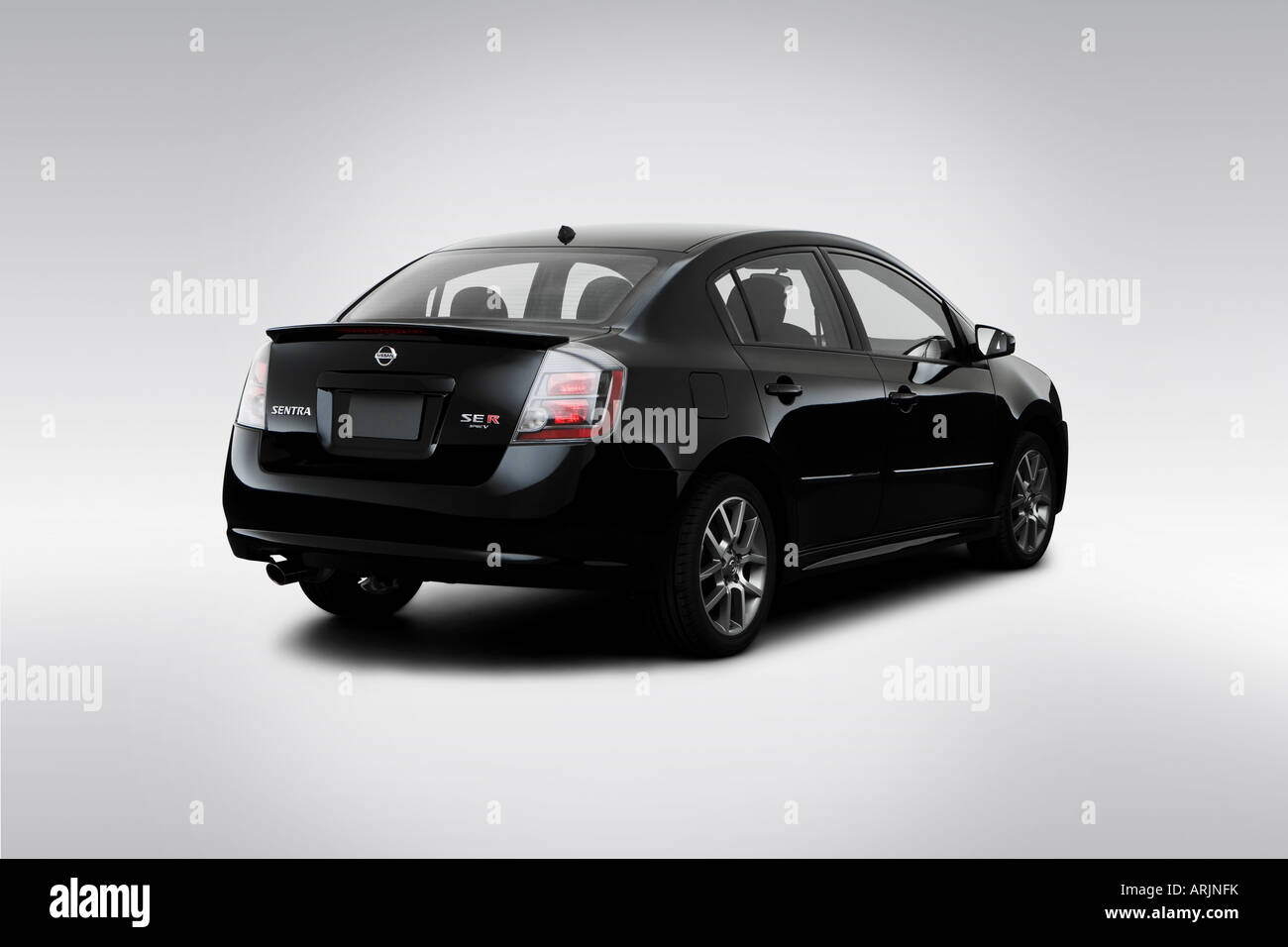 2008 Nissan Sentra Se R Spec V In Black Rear Angle View Stock Photo Alamy