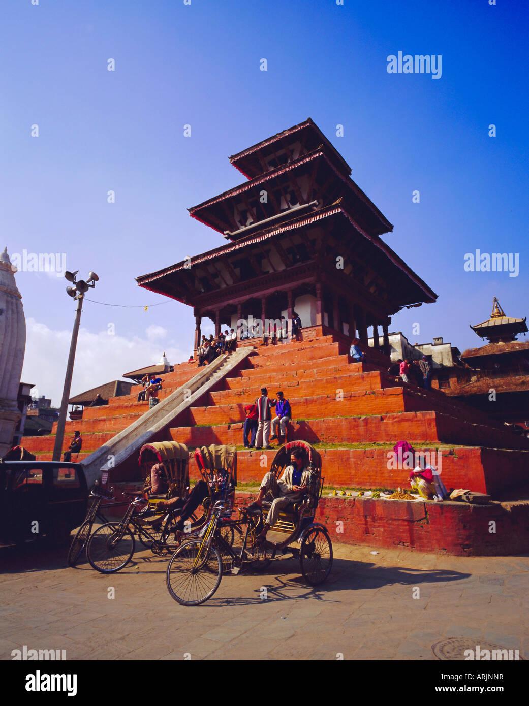 View of Maju Deval Temples and Durbar Square, Katmandu, Nepal - Stock Image