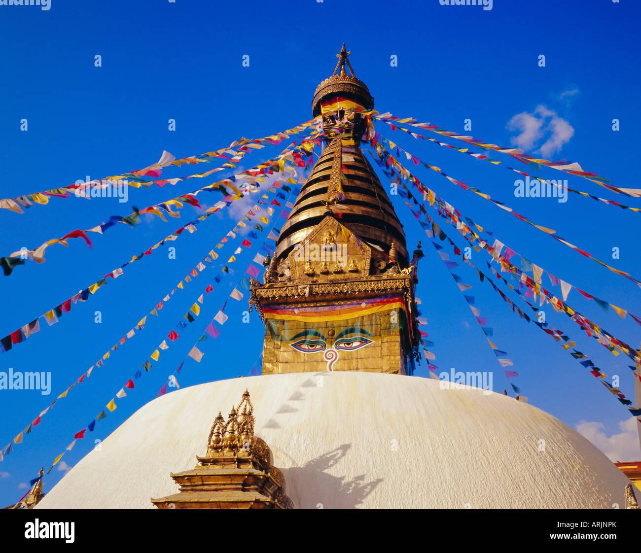 Buddhist stupa at Swayambhunath, Katmandu, Nepal - Stock Image