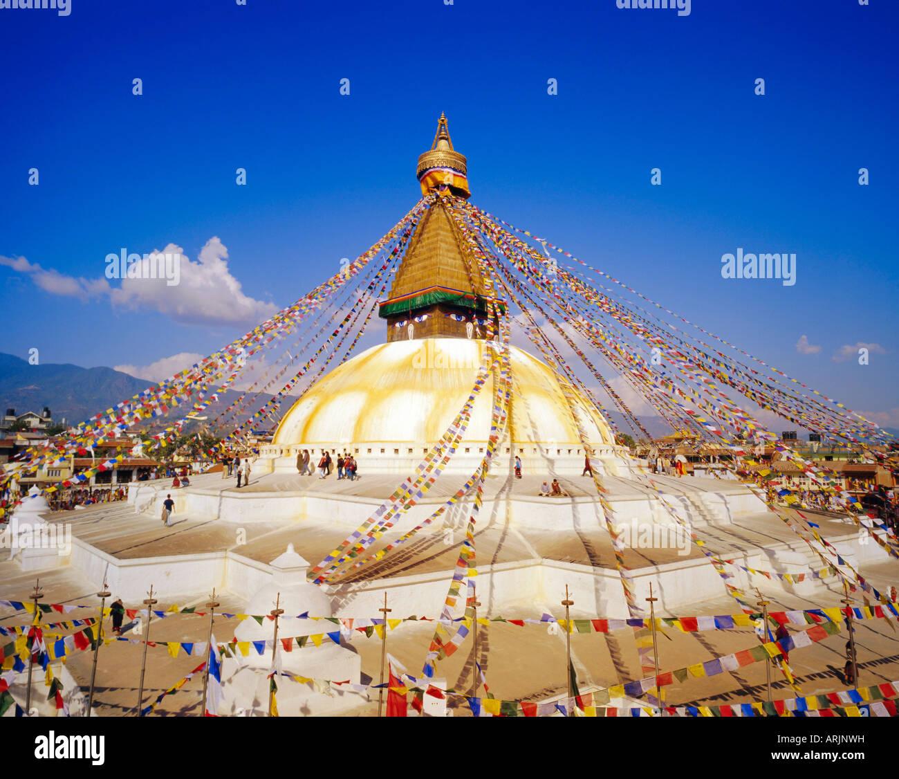Buddhist Stupa, Bodnath, Katmandu, Nepal - Stock Image