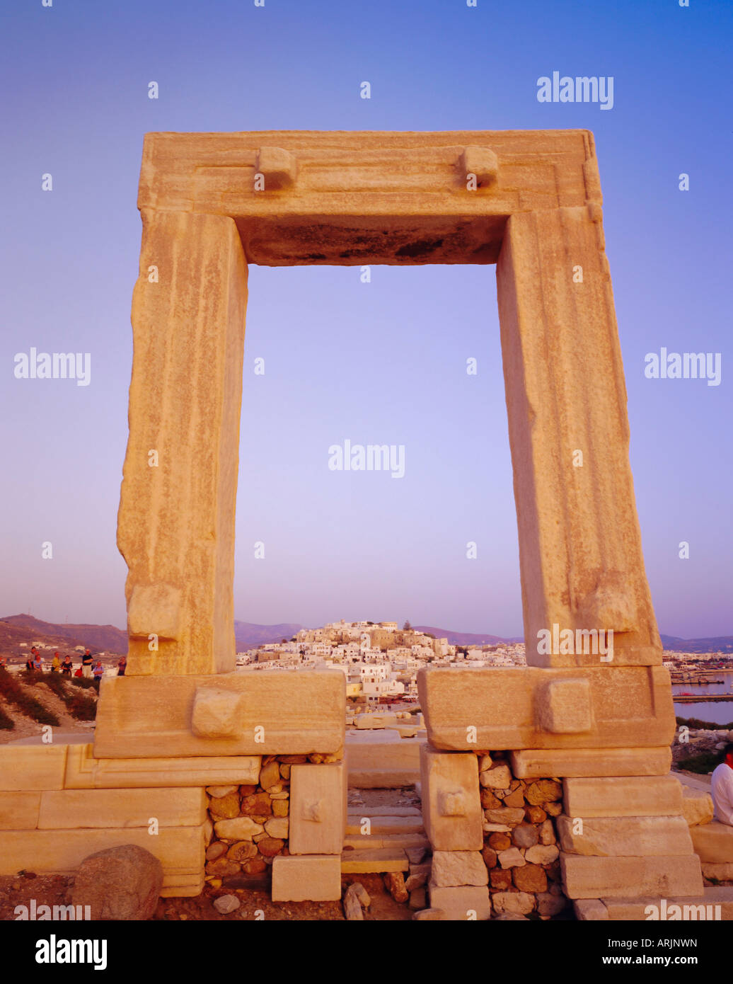Temple of Apollo and Naxos, Naxos, Cyclades Islands, Greece, Europe - Stock Image