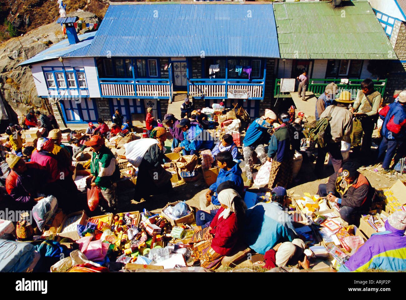 The Saturday Market, Namche Bazaar, Everest Region, Nepal - Stock Image