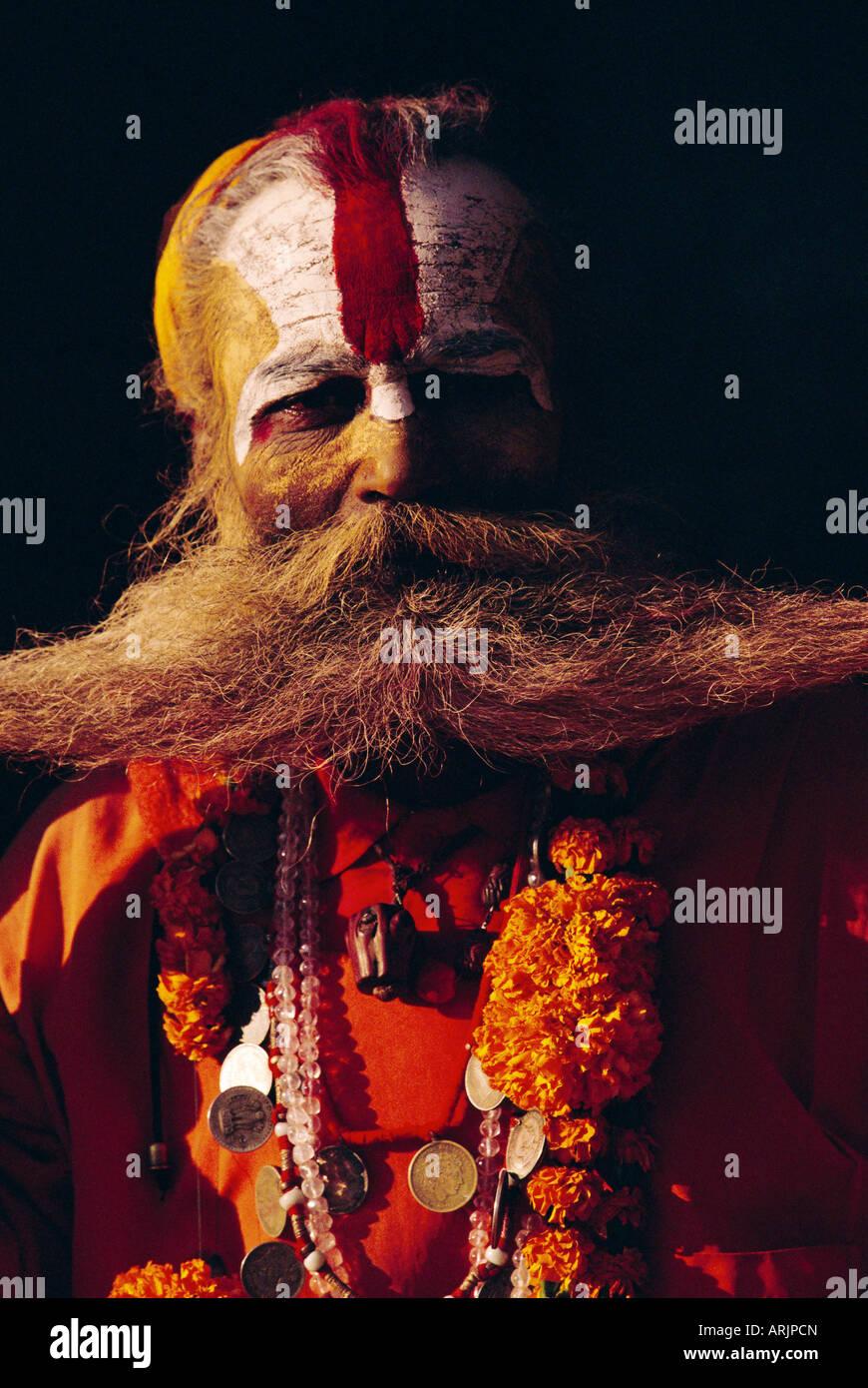 Portrait of an Indian Sadhu, Katmandu, Nepal - Stock Image