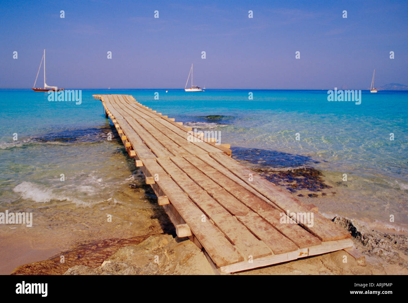 Blaya de ses Illetes, beach, Formentera, Balearic Islands, Spain - Stock Image