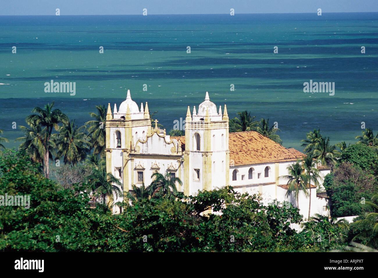 Aerial view of Igrejia NS do Carmo and sea in background, Olinda, Per. Brazil, South America - Stock Image