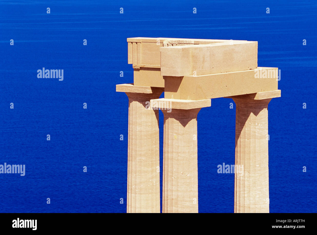 Detail of Hellenistic stoa, Acropolis of Lindos, island of Rhodes, Dodecanese, Greek Islands, Greece, Europe - Stock Image