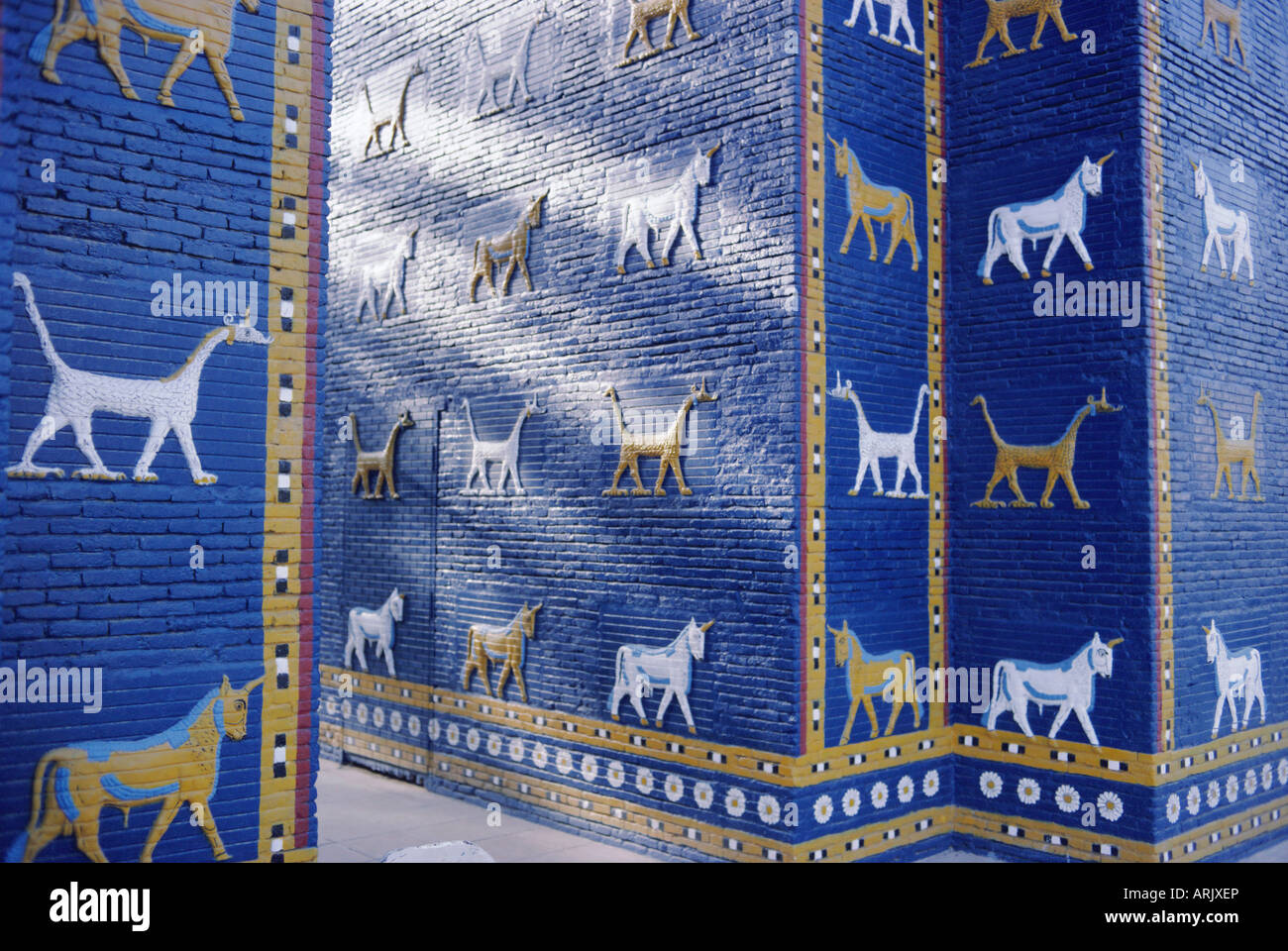 The reconstructed Ishtar Gate, Babylon, Iraq, Middle East Stock Photo