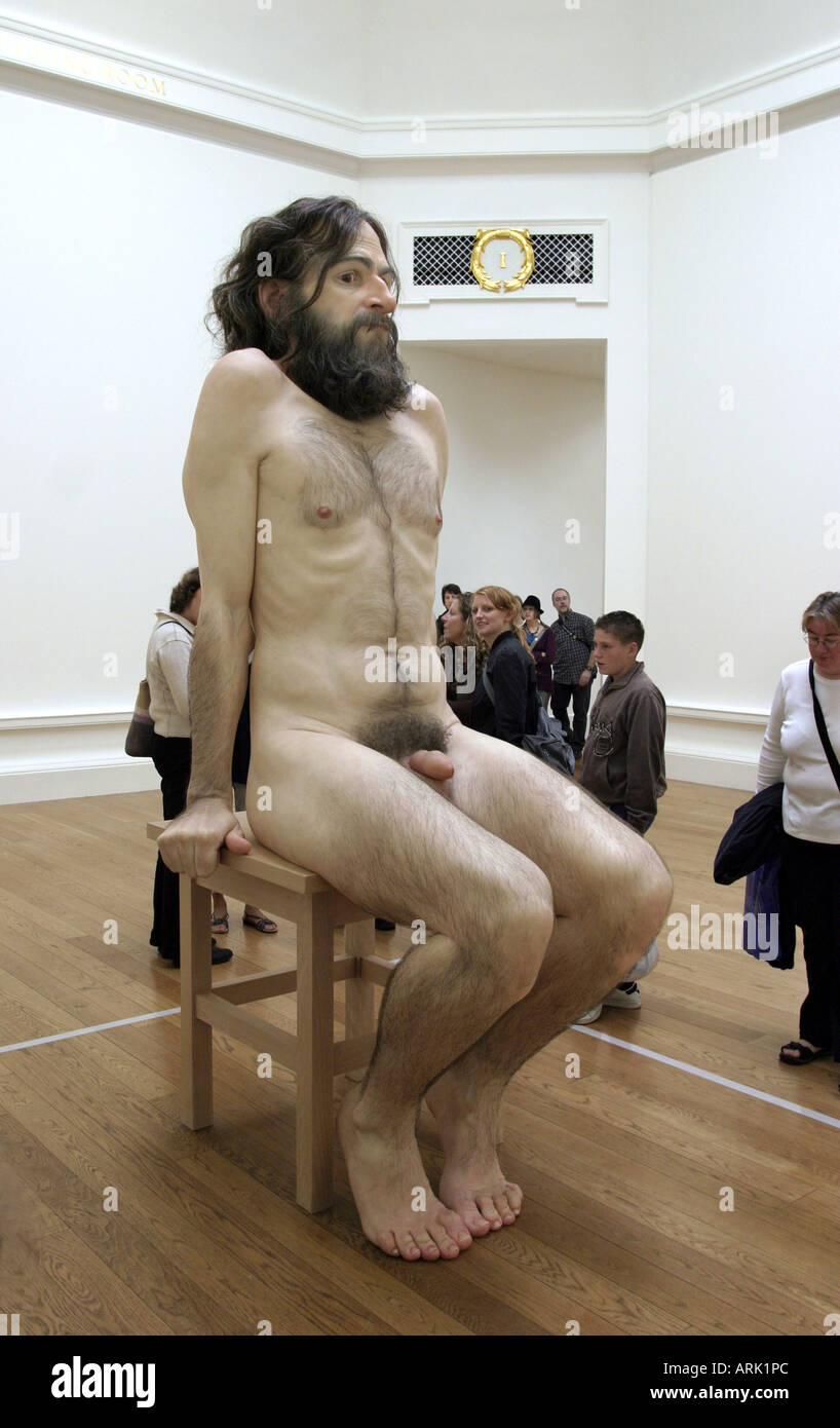 One of Ron Muecks hyper realistic sculptures on show during the festival in Edinburgh Scotland August 2006 - Stock Image